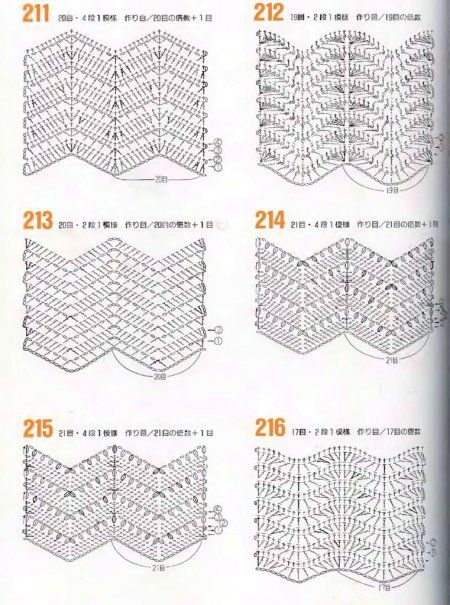 Zig-zag Pattern Diagrams. ☀CQ #crochet