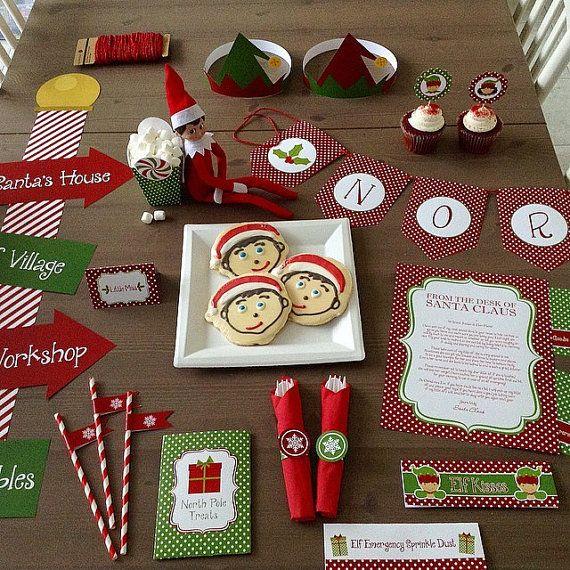 Elf Printables, North Pole Breakfast Printable Set, Party Printable, North Pole Breakfast Ideas, Elf letters, Christmas Printables