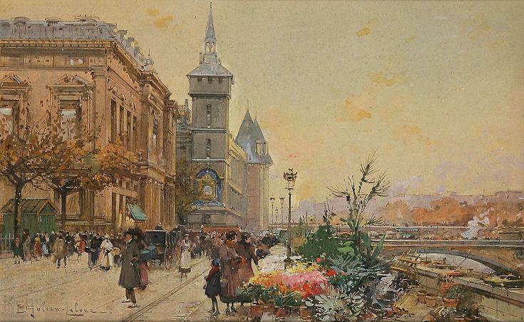 Eugene Galien Laloue (1854 - 1941) Paris, le marché aux fleurs