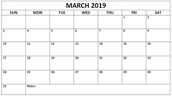 March 2019 Calendar Printable #march #marchcalendar