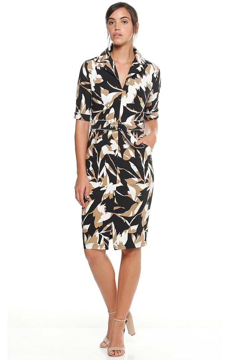HELICONIA FITTED BELTED 3/4 SLEEVE COLLAR DRESS IN BLACK TAN FLORAL
