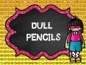 Dull and Sharp Pencil Labels Super Hero and Rock Star Themed