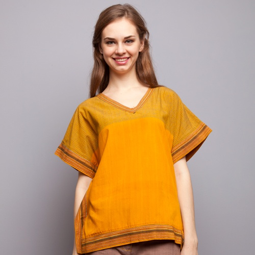 Flock Energy - Turmeric Lurik Stripes Blouse IDR 455.000