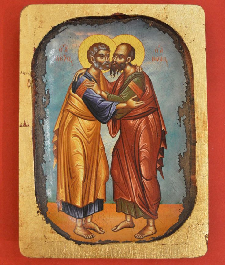 Orthodox Byzantine Icon Handmade Serigraphy Greek of Saint Petr & Saint Pavlos