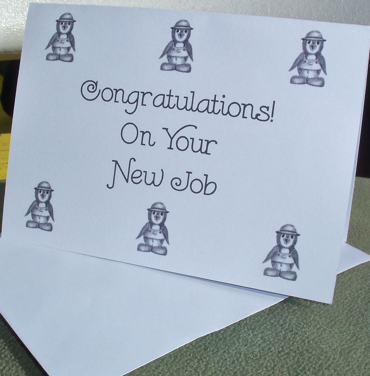 New Job Greeting Card / Congratulations on Your New Job Greeting Card /  Penguin Congratulations Note Card N30 by LoraArtandStationery on Etsy