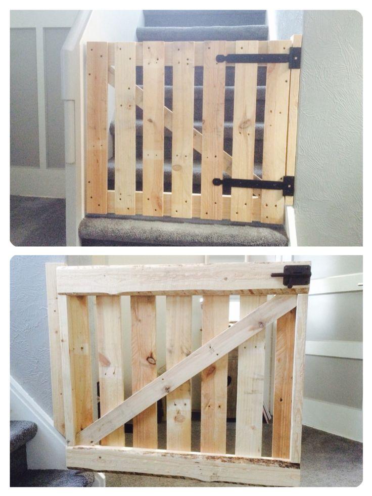Baby gate pallet diy traphekje pallet hout zelf gemaakt ...