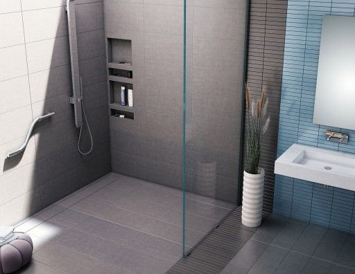 barrier free shower pan with back trench drain u0026 tileable drain top 30u2033d