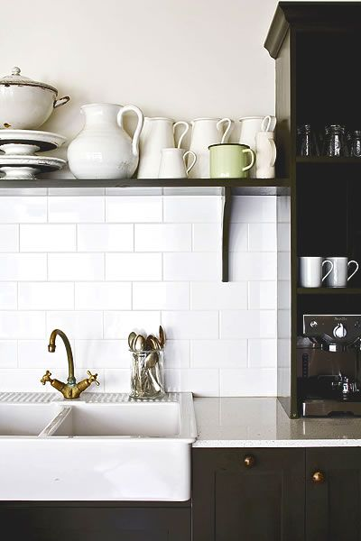 charcoal cabinets + white farmhouse sink + white subway tile + open