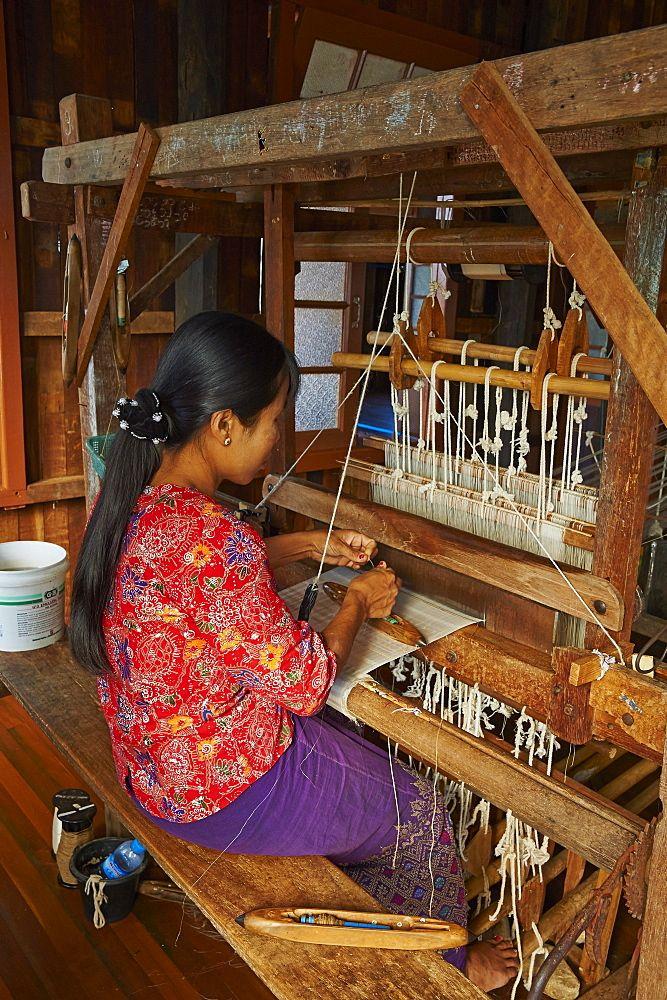 Burmese Woman Weaving Nampan Village Inle Lake Shan State Myanmar Burma Asia High Quality Stock Photos Inle Lake Woman Weaving