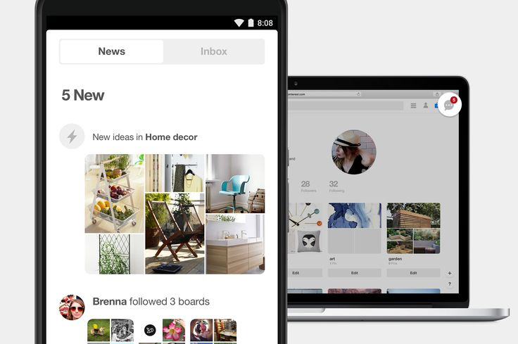 "What's new on Pinterest: We've combined the ""You"" tab with your ""News"" notification tab. Now you'll get all the ideas you love from Pinterest and your friends, all in one place."