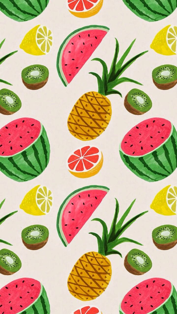 Tumblr iphone wallpaper pattern - Summer Fruits Wallpaper Pineapple And Watermelon Pattern I Can See This In A Small Kitchen For People Who Want Something Quirky