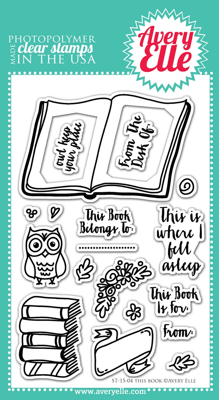 Avery Elle This Book stamp set