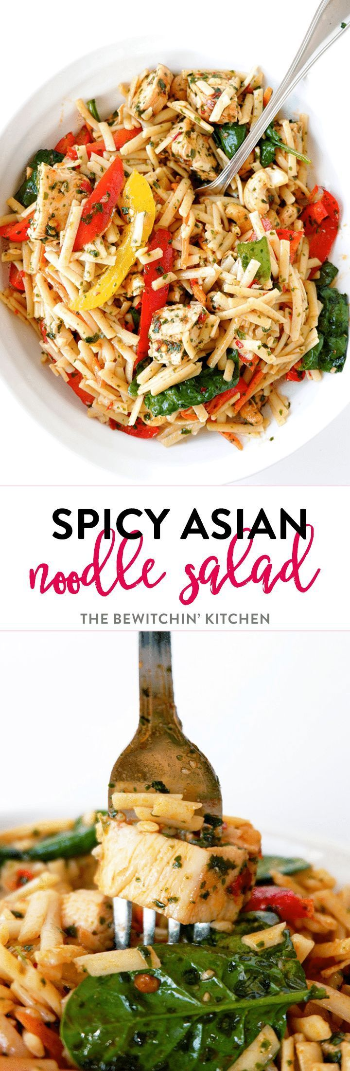 Spicy Asian noodle salad recipe - a delicious cold pasta salad recipe with an asian dressing with sesame oil, chili flakes, chili paste, garlic and more.