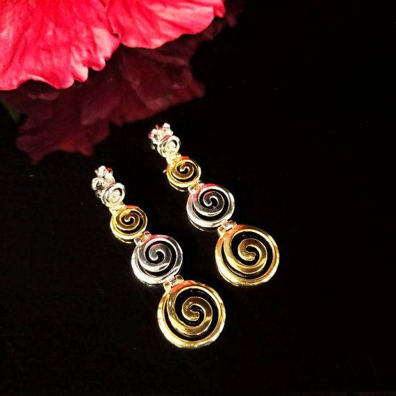 Greek spiral golden silver earrings greek by ThetisTreasures