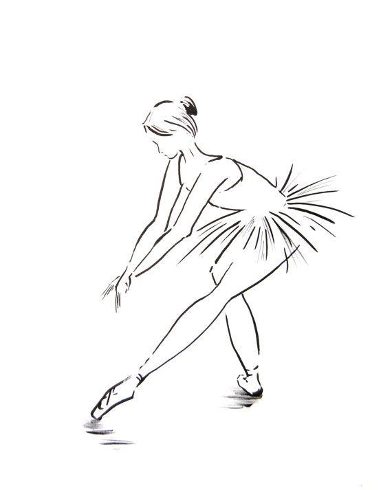 Ballerina Art Print 8x10 From Original Drawing Minimalist Ballet Dance