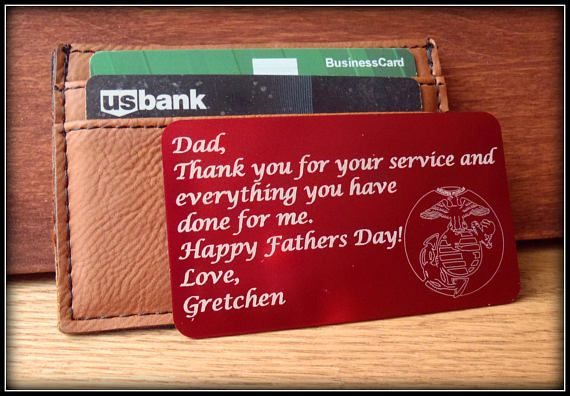 Thank you card Wallet Card Marine Corps Deployment Gift