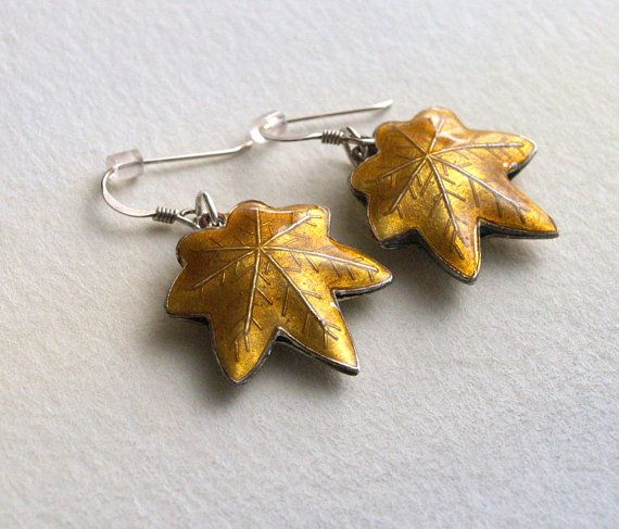 Golden Cloisonne Maple Leaf Sterling Silver by AriadnesCreations