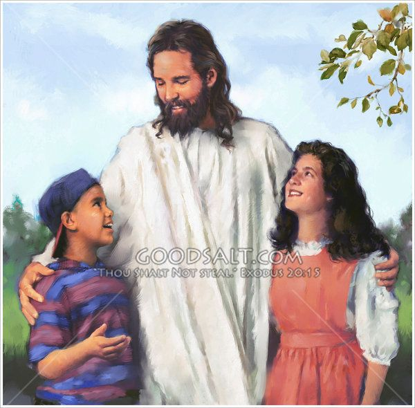 Jesus with His arms around a boy and a girl