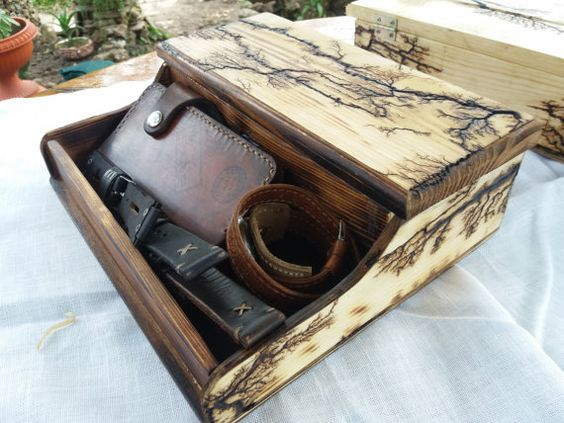 Lichtenberg Figures Watch box for men ,Organization Box, Men's Wallet and Watch box, watches and drawer, father gift