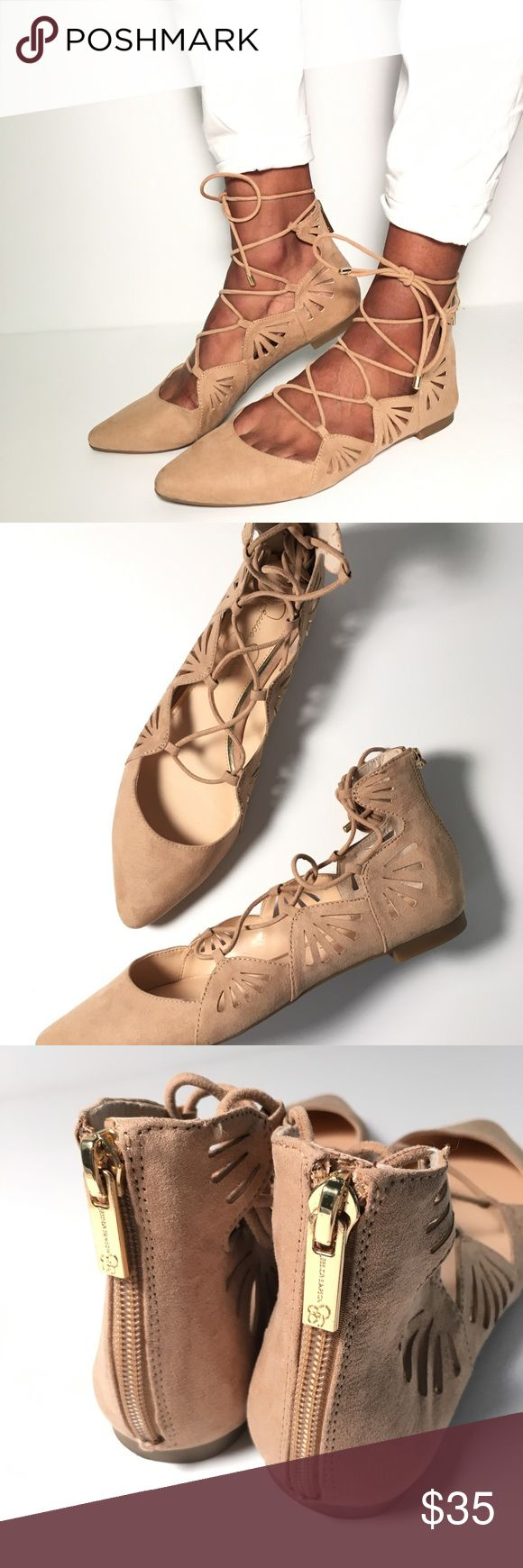 Jessica Simpson Lace Up Fats in Nude Jessica Simpson Lace Up Fats in Nude. Size 8.5 and in excellent condition. Perfect for back to school! Jessica Simpson Shoes Flats & Loafers