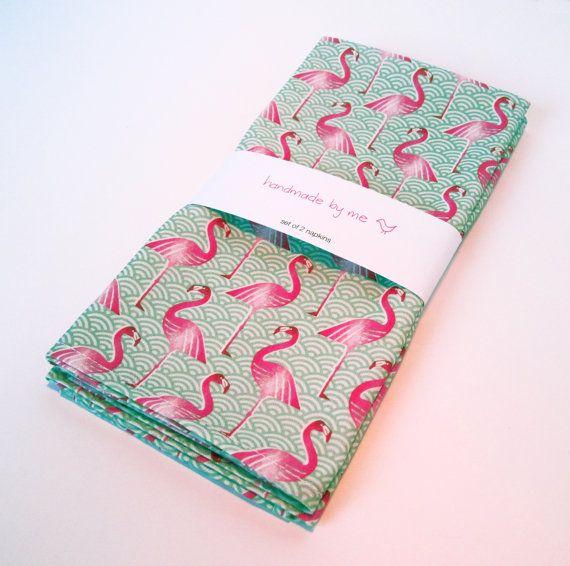 reciclandoenelatico.com Pink Flamingo napkins (set of 2)