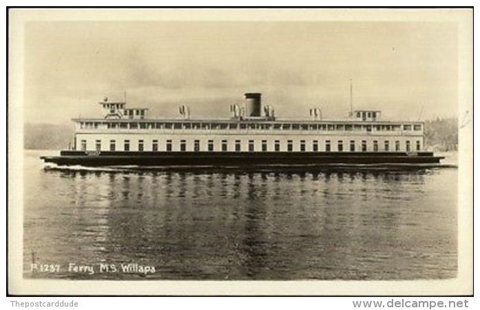 Vereinigte Staaten - Puget Sound Seattle Ferry Boat Willapa Real Photo Postcard