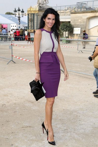 Front Row At Elie Saab Spring 2014 Angie Harmon looks lovely in Elie Saab