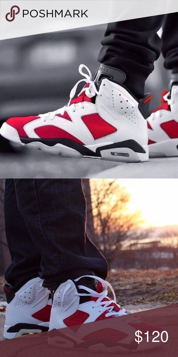 Jordans Retro 6 Red and white retro Jordan's. In really good condition, I got them when they first dropped in stores. Haven't worn them in years...(not much of a sneaker guy). Still persevered in the original box. Good buy Jordan Shoes Sneakers