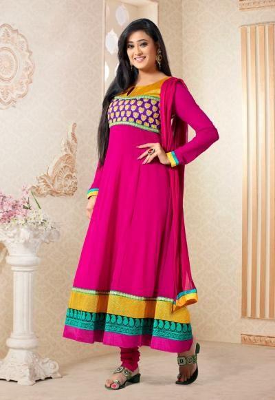 Ravishing dark pink colored designer Anarkali Suit from Shweta TIwari Collection !!