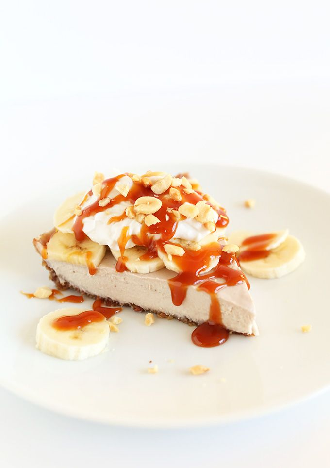 Easy RAW VEGAN Banana Cream Pie! - looks yummy!  Walnut crust (walnuts and dates).  Need cashews for overnight soak - probably thickens the filling.