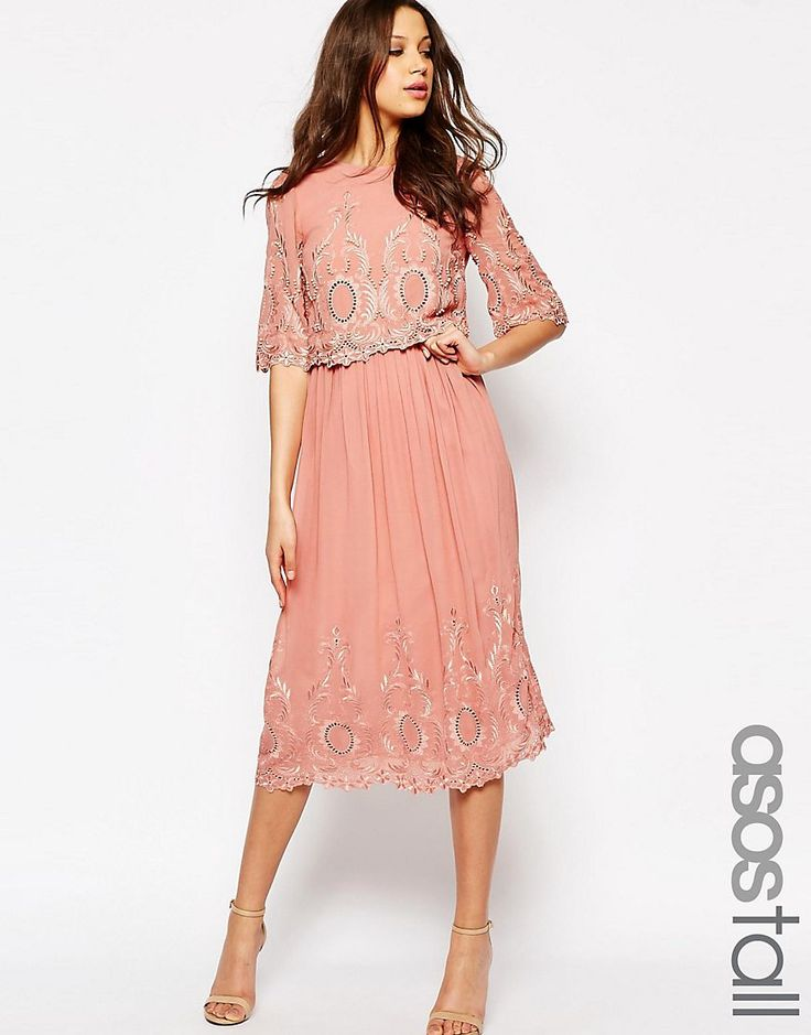 ASOS+TALL+PREMIUM+Midi+Embroidered+Dress