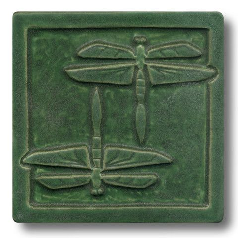 Sweetheart Gallery: Contemporary, Fine American Craft, Art, Design, Handmade Home & Personal Accessories - Whistling Frog Tile Company Double Dragonfly 6x6 Tile 606, Artistic Artisan Designer Hand Made Tiles