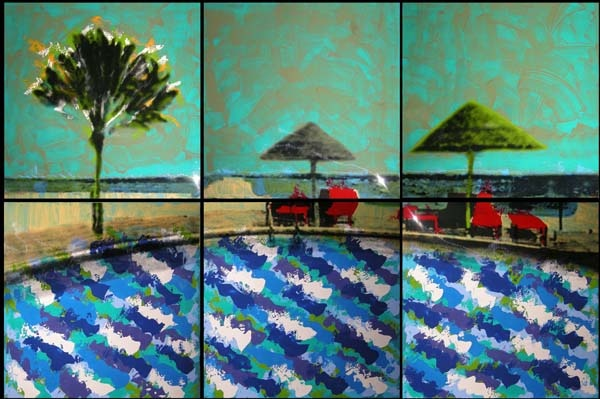 Carolina Convers  Pool and Palm Tree II, 2012  Print and enamel on acetate  70.9 x 106.3 in.
