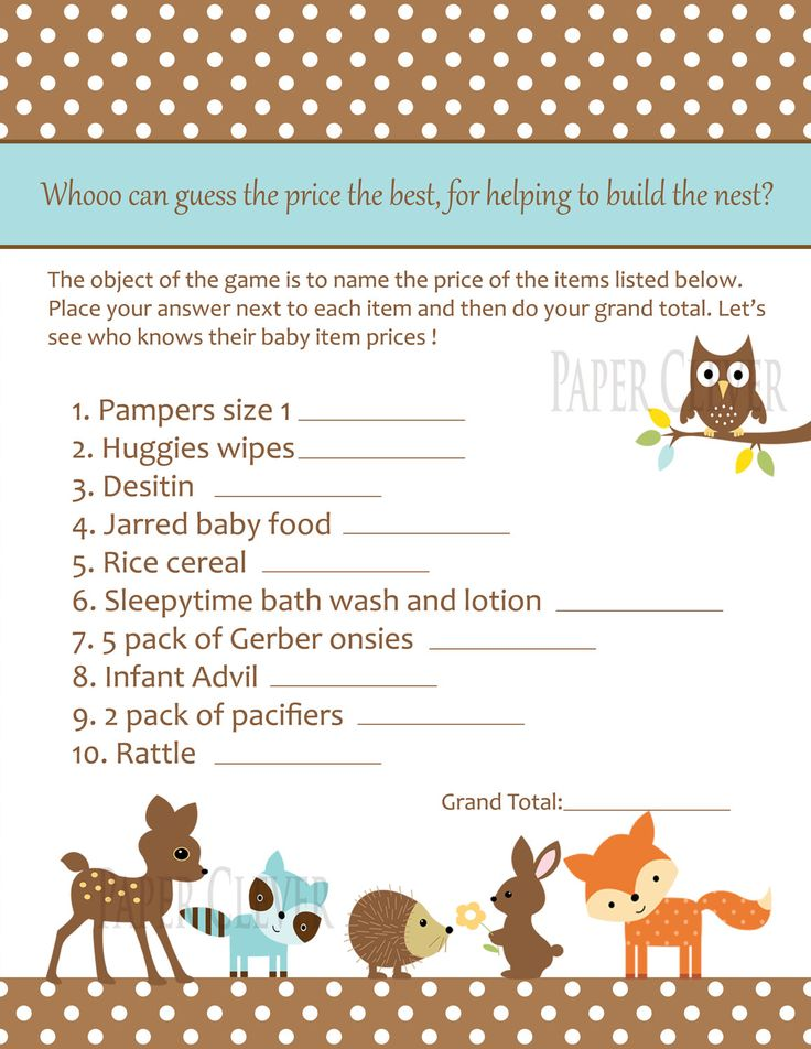 Baby Shower Game. I don't care about the game I just really love the theme those animals are so cute.