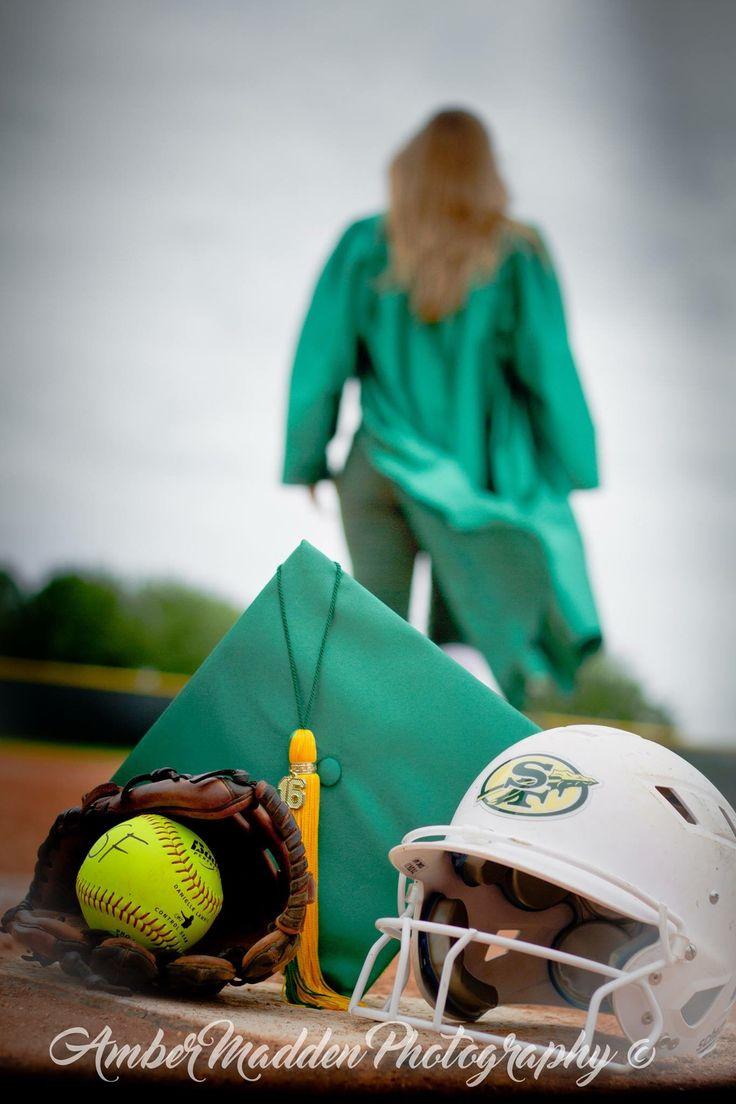Senior Photo, softball, cap & gown, softball field Amber Madden Photography