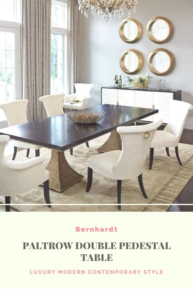 Luxury Modern Contemporary Dining Room Pedestal Table With Golden Beading On Top Edge Gold