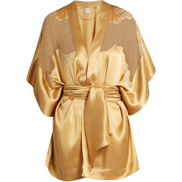 Carine Gilson Lace-insert short silk-satin kimono ($1,208) ❤ liked on Polyvore featuring intimates, robes, gold, silk satin robe, floral robe, short kimono, short robe and sheer kimono robe