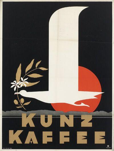 """«Otto Löbl Poster Design-Illustration """"Kunz Kaffee"""", Wien, Österreich (1933)»."""