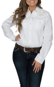 Cowgirl Legend Women's Cream Embroidered Western Snap Shirt | Cavender's
