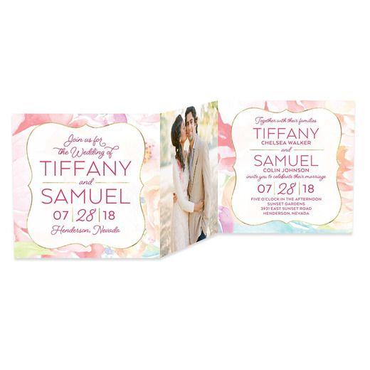 Gilded Floral - Signature White Wedding Invitations - Sarah Hawkins Designs - Begonia - Pink : Front