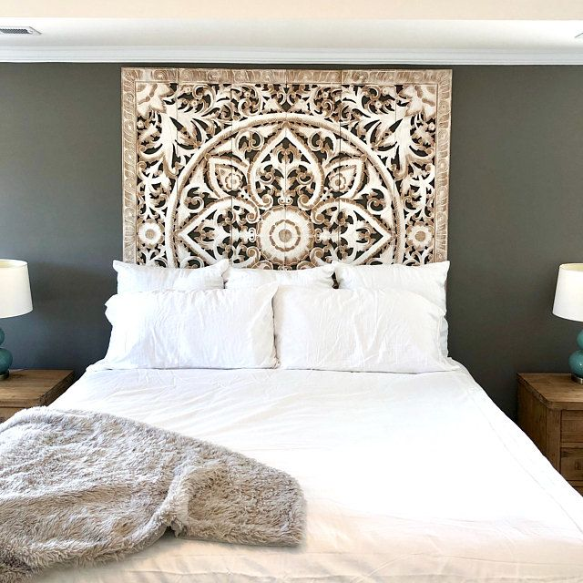 Decorative Mandala Bed Headboard 47 Sculpture Lotus Flower Wooden Hand Craved Carving Teak Wood White Art Panel Wall Home Decor Thai Twin Headboards For Beds White Paneling King Size Bed Headboard
