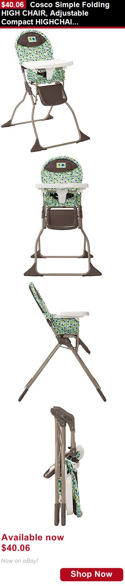 Baby High Chairs: Cosco Simple Folding High Chair, Adjustable Compact Highchair, Elephant Squares BUY IT NOW ONLY: $40.06