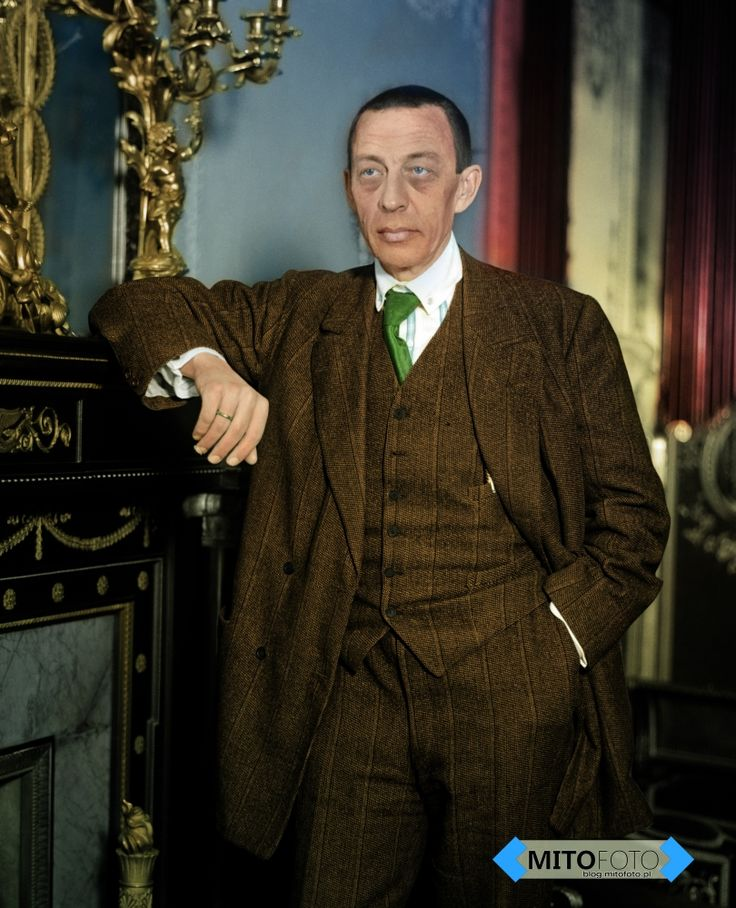 Sergei Rachamninoff. (Colorized Photo).