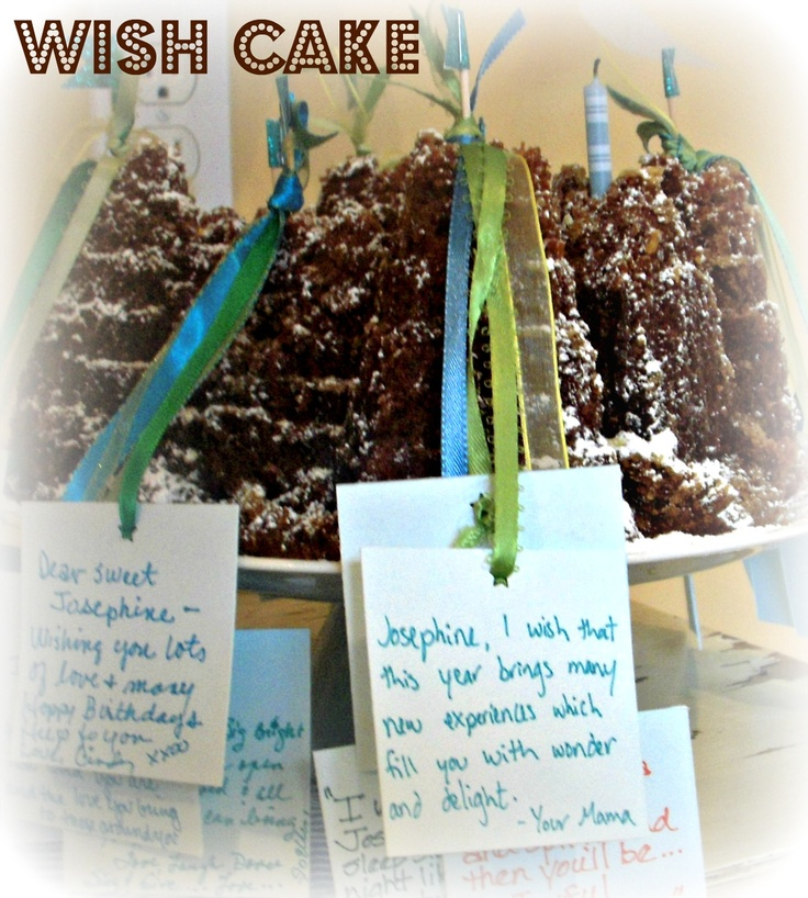 "Have party guests write ""wishes"" for birthday girl/boy and tie them on the cake before lighting the candles.  Love this idea!  Great for ANY age."