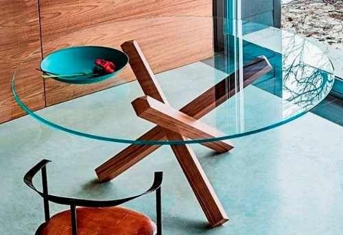 base mesa de jantar madeira para vidro redondo