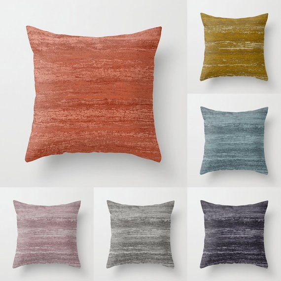 Pastel Melange Throw Pillow Indoor Outdoor Cushion Cover Slate Dusty Blue Coral Red Rust Orange Blush Pink Dove Gr Throw Pillows Pillows Outdoor Cushion Covers