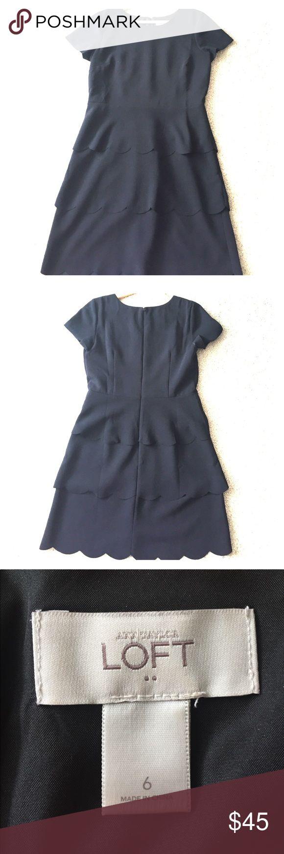 Beautiful scalloped Little black dress - Loft The perfect little black dress with a little scalloped flair. Hits right above the knee. LOFT Dresses Midi