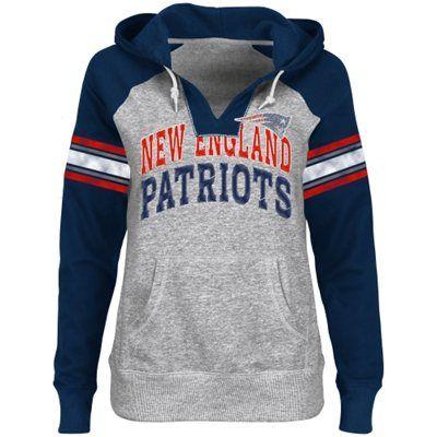 New England Patriots Ladies Huddle III Pullover Hoodie - Ash/Navy Blue