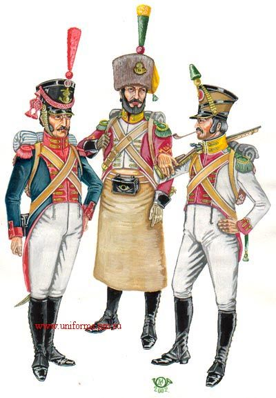 Naples Guards 1912-151. Guard seaman; 2. Sapper Voltigeurs Guard; 3. Voltigeur