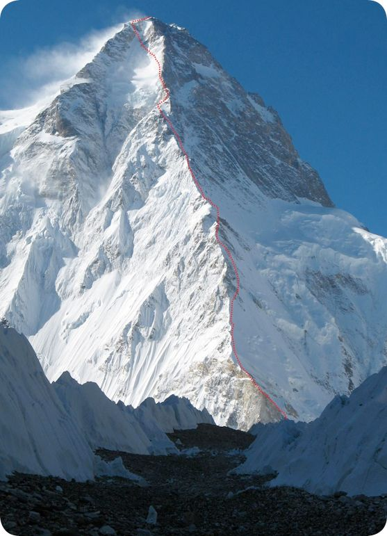 K2 North Pillar (8611m). That traverse looks terrifying. Wish I could climb this.